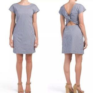 THEORY Andrizza W Blue White Soft Seersucker Dress